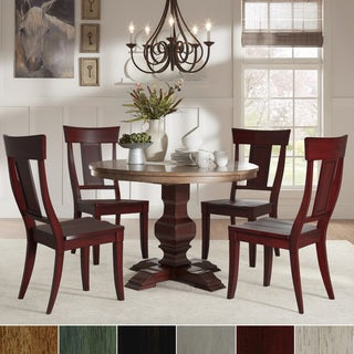 Eleanor Red Round Solid Wood Top 5 Piece Dining Set   Panel Back By INSPIRE