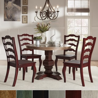 Eleanor Red Round Solid Wood Top 5-Piece Dining Set - French Ladder Back by iNSPIRE Q Classic