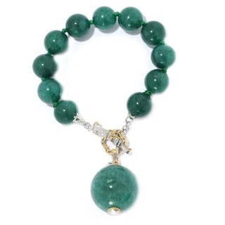 Michael Valitutti Palladium Silver Green Color Dyed Quartz Bead Toggle Bracelet w/ 22mm Drop Charm