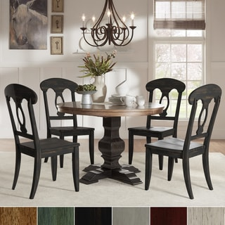 Eleanor Black Round Solid Wood Top 5-Piece Dining Set - Napoleon Back by iNSPIRE Q Classic