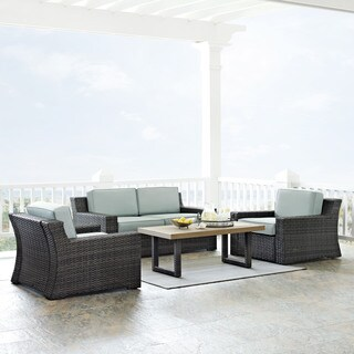 BEAUFORT 4 PC OUTDOOR WICKER SEATING SET WITH MIST CUSHION - LOVESEAT, TWO CHAIRS, COFFEE TABLE