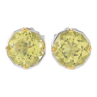 "Michael Valitutti Palladium Silver ""Manhattan"" Star Cut Ouro Verde Stud Earrings"
