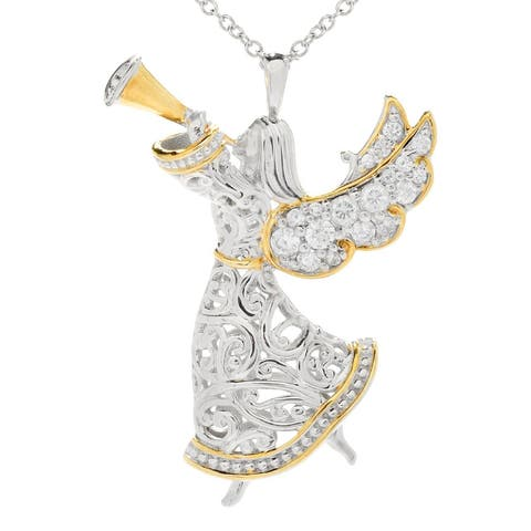 Michael Valitutti Palladium Silver White Zircon Angel Fairy Pin/Pendant