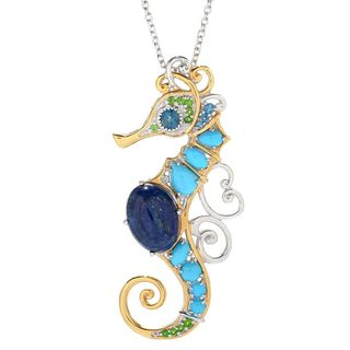 Michael Valitutti Palladium Silver Lapis, Sleeping Beauty Turquoise & Multi Gemstone Seahorse Pendant
