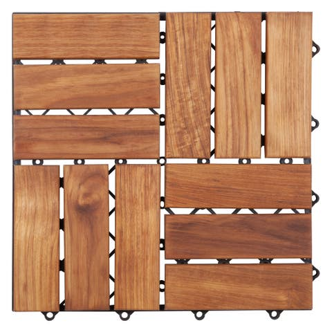 12-slat Basket Weave Teak Wood Interlocking Tile Set (Pack of 10)