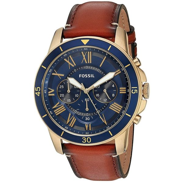 e7b5f83ff Shop Fossil Men's FS5268 'Grant' Chronograph Brown Leather Watch - Free  Shipping Today - Overstock - 14820732