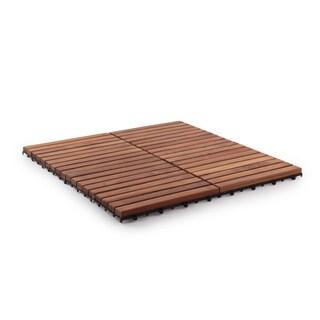 Oiled Teak Wood 9-slat Square Interlocking Tile Set (Pack of 10)