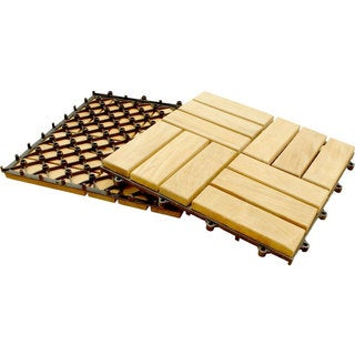 Basket Weave Natural Teak Wood Interlocking Tile Set (10 Square Feet)