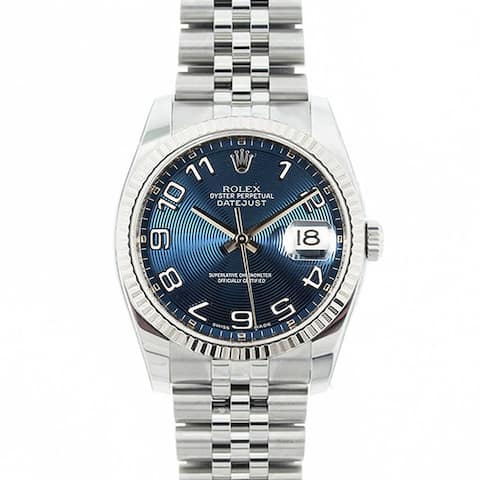 Pre-owned Rolex Mid 2000's Model 116234 Men's Datejust Stainless Steel Blue Concentric Dial Watch