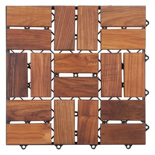Zig Zag Teak Wood 18-slat Square Interlocking Tile Set (Pack of 10)