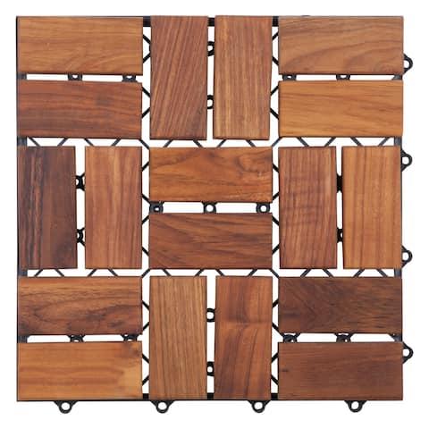 Zig Zag Teak Wood 18-slat Square Interlocking Tile Set (Pack of 10)