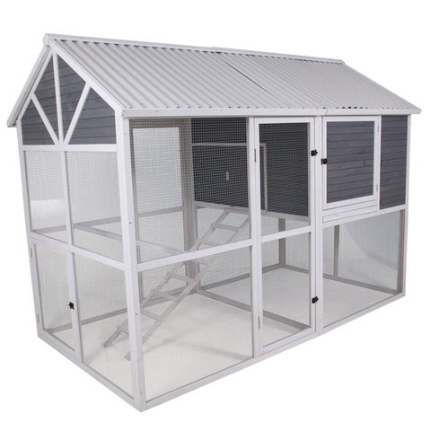 Precision Garden Walk-in Chicken Coop - Slate/White