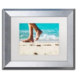 Yale Gurney 'Walking The Beach' Matted Framed Art