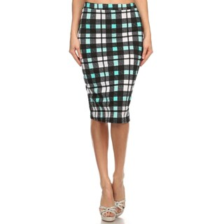 Women's Multicolored Plaid Fitted Pencil Skirt