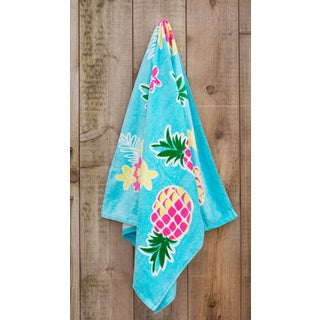 St.Tropez Sands Collection Yellow Pink Pineapple Beach Towel - 36 x 70
