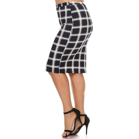 Women's Black Plaid Plus Size Pencil Skirt