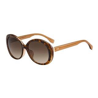 Fendi Round Women's Grey Frame Brown Lens Sunglasses