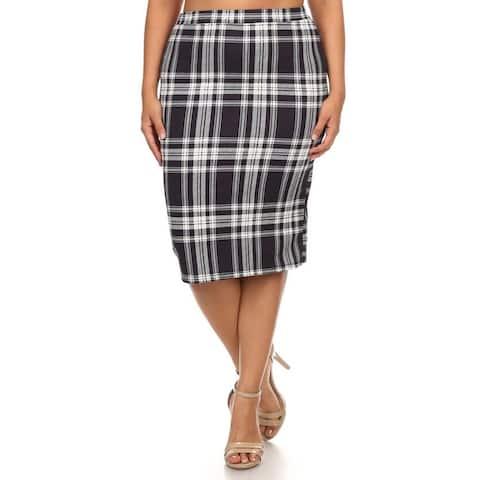 Women's Multicolor Plaid Plus-size Pencil Skirt