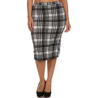 Women's Black Plaid Plus-size Pencil Skirt