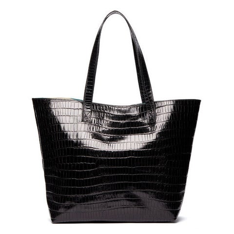 Viva Bags Croco Embossed Italian Leather Tote Bag