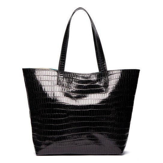 363a5e69612b Shop Viva Bags Croco Embossed Italian Leather Tote Bag - Free Shipping  Today - Overstock - 14821267