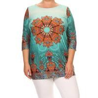 Women's Mixed Mandala Multicolored Plus Size Tunic