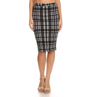 Women's Plaid Fitted Pencil Skirt