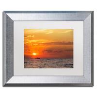 Jason Shaffer 'Fishing Boat Sunset' Matted Framed Art - Orange