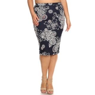 Women's Plus-size Abstract Floral Pencil Skirt