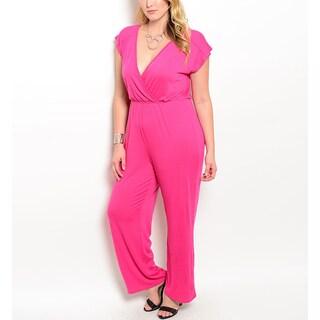 JED Women's Pink Plus-size Elastic Waist Jumpsuit