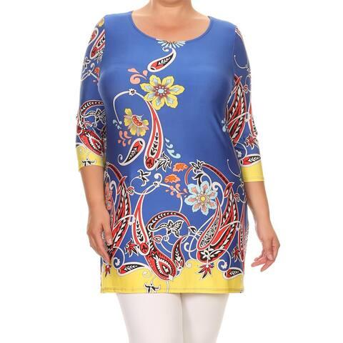 Women's Multicolored Plus-size Mixed Paisley Tunic