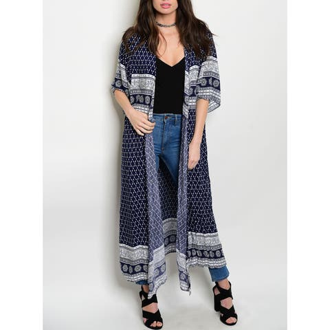 JED Women's Short-sleeved Multi-print Maxi Cardigan