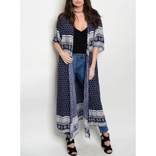 JED Women's Short-sleeved Multi-print Maxi Cardigan