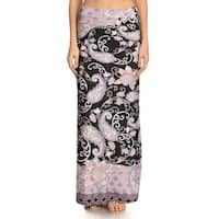 Women's Black Paisley Pattern Maxi Skirt