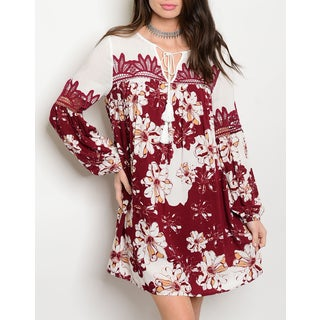 JED Women's Floral and Lace Flowy Long-sleeved Tunic Dress