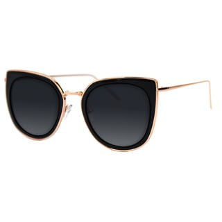 Pop Fashionwear Metal Polarized Cat Eye Flat Lens Coated Sunglasses