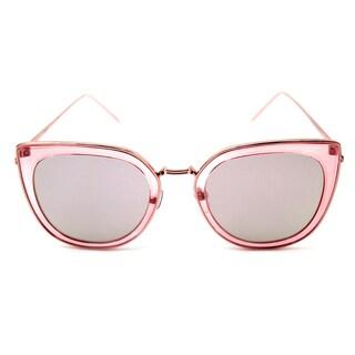 Pop Fashionwear Metal Polarized Cat Eye Flat Lens Coated Sunglasses
