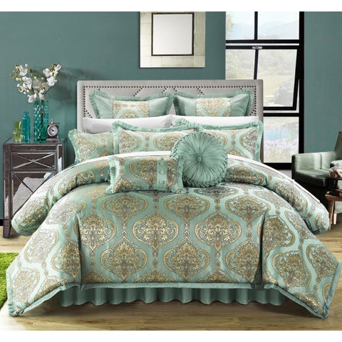 Chic Home 13-piece Giovani Blue Jacquard Comforter Set