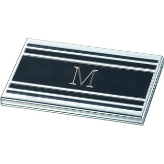 Visol Personalized Cove Black Matte Business Card Case with Engraved Initial