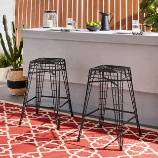 Filo Outdoor 24 inch Black Metal Counter Stools (Set of 2)