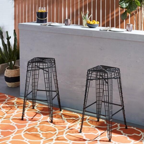 Shop Havenside Home Filo Outdoor 30 Inch Black Metal Bar Stools Set