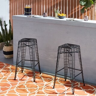 Filo Outdoor 30 inch Black Metal Bar Stools (Set of 2)