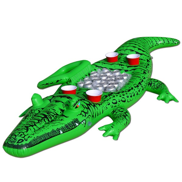 GoFloats Giant Party Gator Floating Alligator with Cooler and Cup Holders
