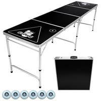 GoPong Black 8' Portable Folding Beer Pong and Flip Cup Table With 6 Balls