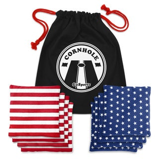 GoSports America-themed Premium All-Weather Duck Cloth Cornhole Bean Bag Set and Tote Bag