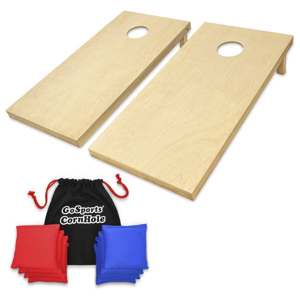 GoSports Regulation Size Natural Finish Wooden CornHole Set