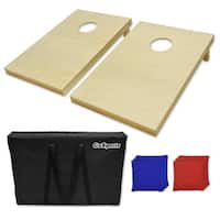 GoSports Tailgate Size Natural Finish Wooden Cornhole Set