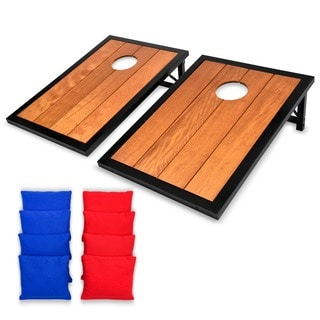 GoSports Premium Wood Cornhole Set with Powder Coated Frame