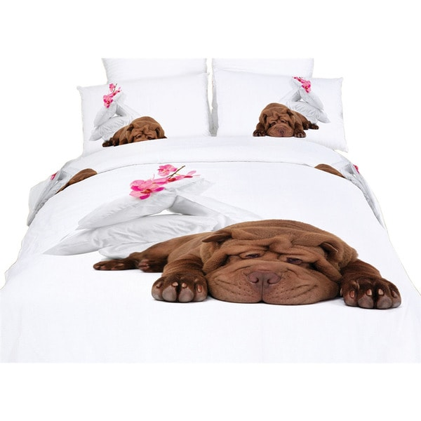 Dolce Mela Home Bedding Sleepy Puppy Duvet Cover and Sheet Set
