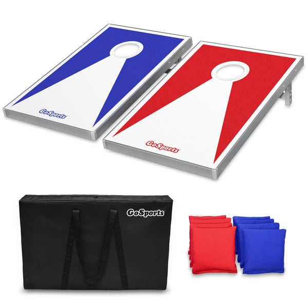 GoSports Classic Cornhole Set with 8 Bean Bags, Carry Case, and Rules